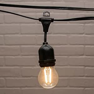 Amazon.com : 2 PACK-Commercial Globe Drop String Lights, G45 Dimmable LED, 106ft Black Wire ...