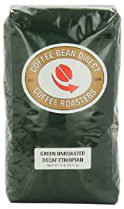 Green Unroasted Decaf Ethiopian, Whole Bean Coffee, 5-Pound Bag