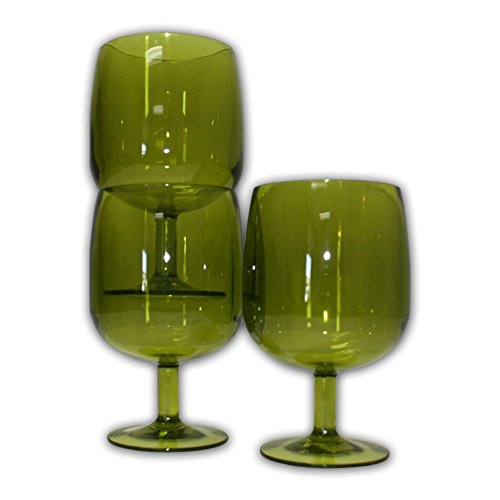 Table in a Bag Green Plastic Stackable Wine Glasses (Set of 4)