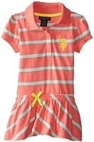 U.S. POLO ASSN. Little Girls' Striped Polo Dress with Diagonal Stripe Bottom