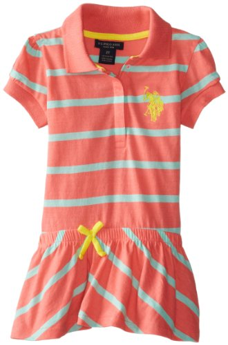 U.S. Polo Assn. Little Girls' Striped Polo Dress With Diagonal Stripe Bottom, Calypso Peach, 5/6