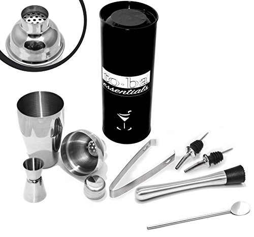 4 pc Cocktail Shaker Set - FREE Muddler , FREE Bar Spoon & FREE Liquor Pourers (2) - Stainless Steel 4pc Bar Set - Cocktail Shaker (18.5oz) - Strainer - Jigger - Tongs (Mixer Muddler compare prices)