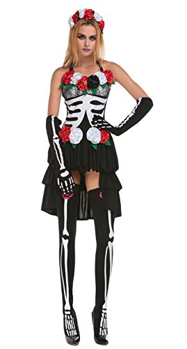 JustinCostume Women's Halloween Cosplay Dress Vampire Zombie Bride Costumes