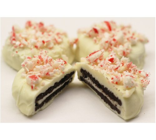 Scott's Cakes Christmas White Chocolate Covered Oreos Topped with Crushed Peppermint Candy Canes in a Small Classic Snowman Tin