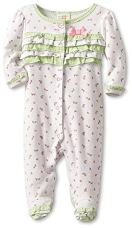 Absorba Baby-girls Newborn Printed Footie, Multi, 6-9 Months