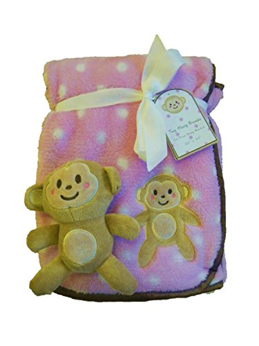 Tag Along Friends Pink Monkey Baby Blanket
