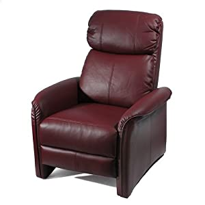 Home Leather Soft Pad Recliner 3 Positional Leather Cozy Recliner Chair Burgundy
