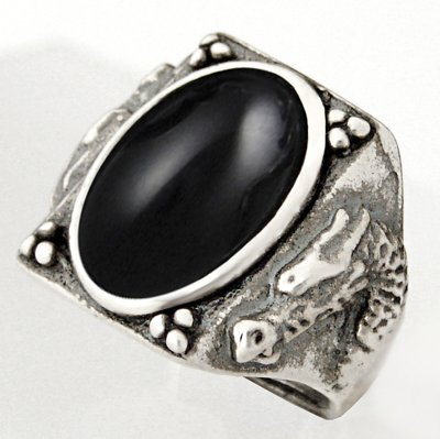 Heavy Weight Sterling Dragon Ring with Black Onyx Made in America Available in Size 8 to 12
