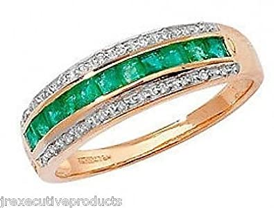 J R Jewellery 406461 9ct Gold Emerald Squares & Diamond Eternity Ring