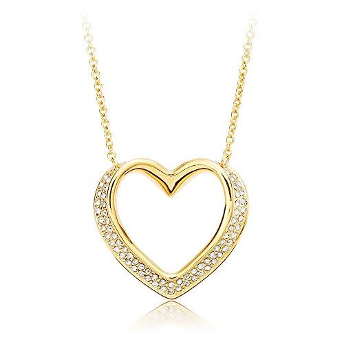 MYJS Cupidon-Collana placcata oro con cristalli Swarovski, lunghezza regolabile 43 2