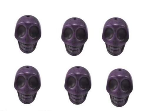 Purple Magnesite Dyed Gemstone Beads Carved Skull Beads, 20 X 17 X 14 (6 Per Set)