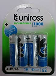 UNIROSS 1.2V 1000 mAh NI-MH Rechargeable Batteries-set of 4