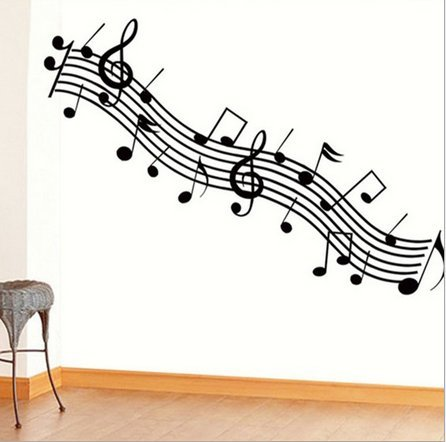 Music, Dance Classroom Bedroom Wall Stickers Musical Note Black front-1012432
