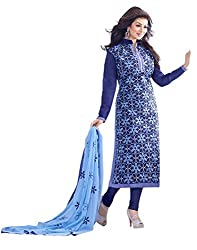 Surat Tex Blue Color Party Wear Embroidered Chanderi Un-Stitched Dress Material-H963DL9403