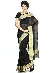 Floral Silk Saree Collections-Black-PA... Cotton