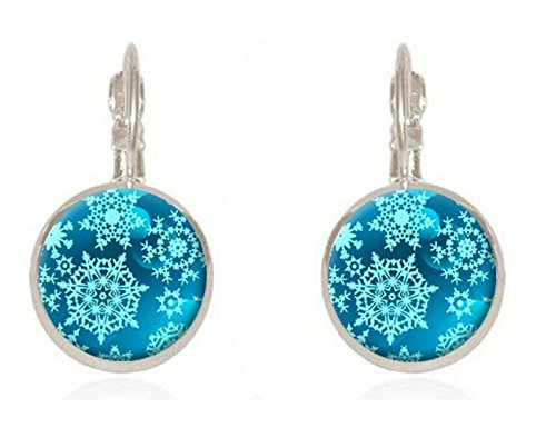 [Luck Wang Women's Unique Fashion Temperament Gemstone Snowflake Earrings(Sliver)] (Costume Rental Austin)