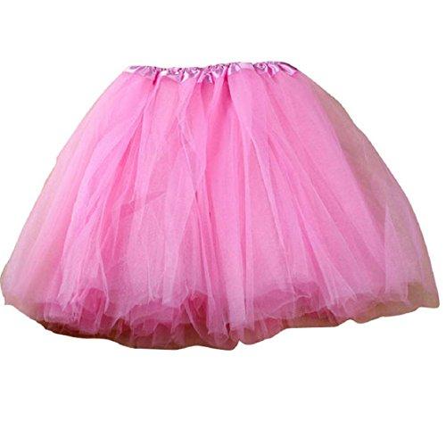 Sannysis® Pretty Girl elastica elastica di Tulle Abito per adulti Tutu 3 strati Gonna (rosa)