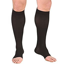 Truform 0865, Compression Stockings, Below Knee, Open Toe, 20-30 mmHg, Black, X-Large