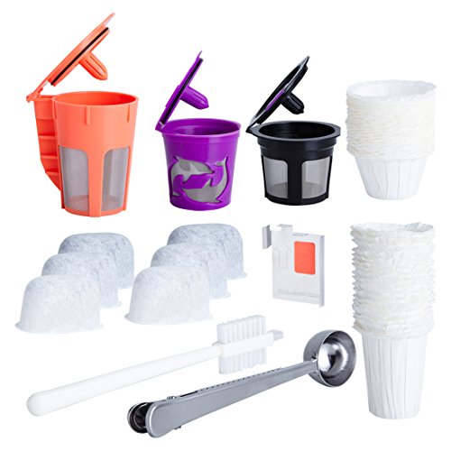 Reusable K Cups and Carafe for Keurig 2.0 Bundle with Water Filters, Disposable Filers and Coffee Accessories (8 items) (Carafes K Cups compare prices)