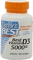 Doctor's Best, Meilleure Vitamine D3, 5000 UI, 180 Gélules