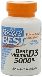 Doctor's Best Vitamin D3 5000iu, Soft Gels, 180-Count