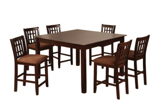 Furniture of America Svelte 7-Piece Counter Height Table Set with 18-Inch Leaf, Espresso Finish (D Piece Kitchen Table Set compare prices)
