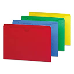 Assorted Color Recycled File Jackets, Double Ply Tab, Flat, Letter, 100/Box (SMD75613)