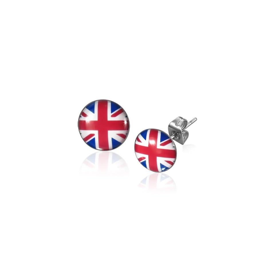 E668 E668 10mm Stainless Steel Flag Of The United Kingdom Circle Stud Earrings