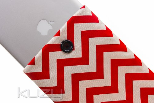 Best  Kuzy - 15-inch RED Chevron Cotton Sleeve Handmade Cover for MacBook Pro 15.4