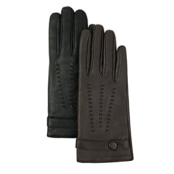 Luxury Lane Women's Cashmere Lined Lambskin Leather Driving Gloves - Black Medium