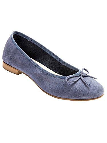 Balsamik - Ballerine piatte pelle vellutata, grande larghezza - - Size : 36 - Colour : Blu jeans
