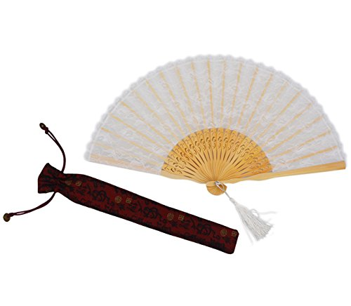 Amajiji Chinese /Japanese Vintage Retro Style Bamboo Wood Silk Folding Hand Fan for women HBSY (23cm) (001)