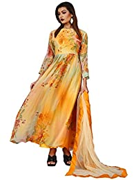 BMR Women's Glossy Orange Printed Casual Designer Anarkali Suit