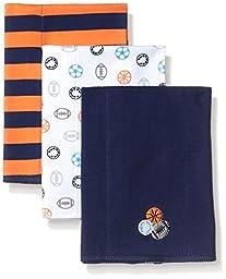 Gerber Baby Boys\' 3 Pack Interlock Burp Cloth, Sports, One Size