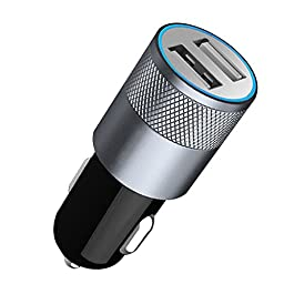 Hccolo Portable Car Charger with Dual USB Ports and MFI, RoHS, CE and FCC Certified Lightning Cable for iPhone 6S/6S Plus, 6, 5, 5S, iPad Air 2, Mini 3