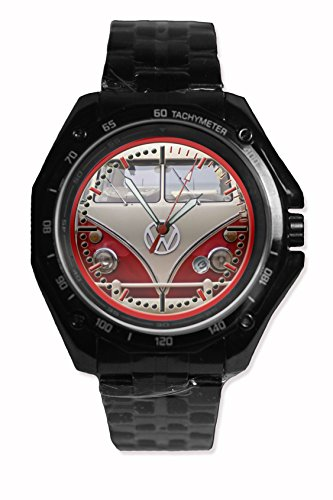 Face Color Front Vw Campervan Red Ice Color Printed Snap On Black Watch Stainless Steel