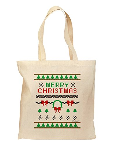 TooLoud Merry Christmas Ugly Christmas Sweater Grocery Tote Bag - Natural