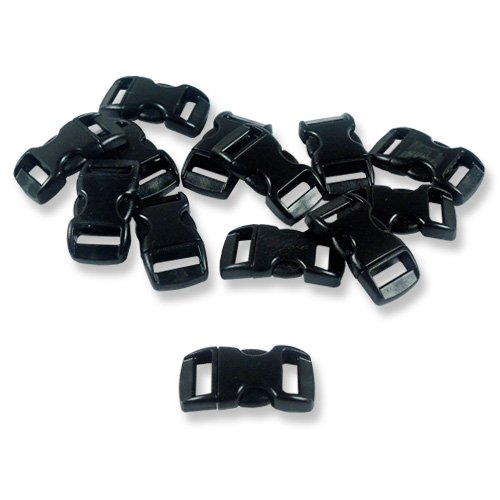 "Paracord Planet® Brand Contoured Side Release Black Buckle - 3/8"" 10 Pack"