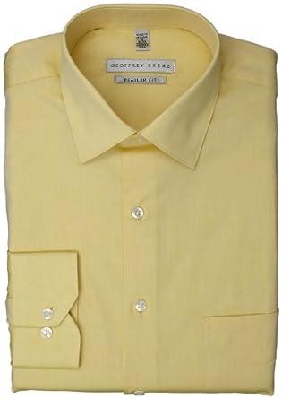 Geoffrey Beene Men's Regular Fit Pinpoint Dress Shirt, Yellow, 14.5 32-33