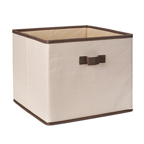 StorageManiac Foldable Polyester Canvas Storage Bin with Handles, Convenient Storage Basket, Fabric Closet Drawer with Coffee Trim