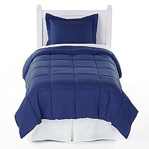 twin solid comforter sham set dark navy blue. Black Bedroom Furniture Sets. Home Design Ideas