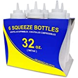 New Star 26269 Wide Mouth Plastic Squeeze Bottles, 32-Ounce, Clear, Set of 6