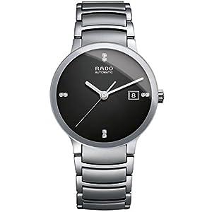 Rado Men's Centrix Jubile Diamond 38mm Steel Bracelet & Case Automatic Black Dial Analog Watch R30939703