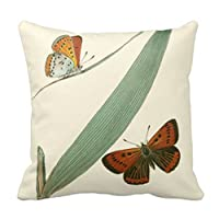 Decorative Square Pillow Case Colorful Butterflies Fluttering Around a Leaf Pillow Cover 18X18 Inches from Kiuoiem