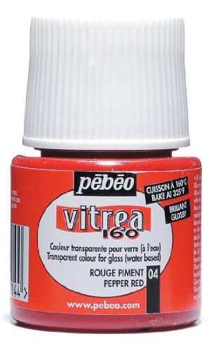 Pebeo Vitrea 160 Glossy Glass Paint 45-Milliliter Bottle, Pepper Red