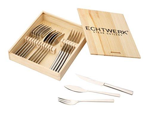 """Echtwerk EW-SB-0565Ménagère à steak """"Sarre"""" en acier inoxydable poli 18/10dans un coffret en bois, 18pièces, 22,7x 22x 5cm"""