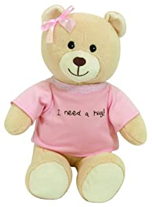 Stephan Baby Ultra Huggable Plush Bear with Removable I Need a Hug T-Shirt, Baby Girl