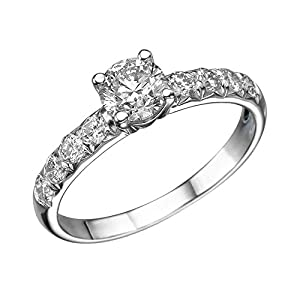 GIA Certified 14k white-gold Round Cut Diamond Engagement Ring (0.93 cttw, K Color, VS2 Clarity)