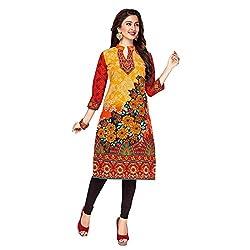 Stylish Girls Women Cotton Printed Unstitched Kurti Fabric (SG_K1004_Yellow_Free Size)