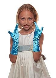 Showstopper Shiny Satin Elbow Length Gloves for Girls (Sky Blue, 7-14)